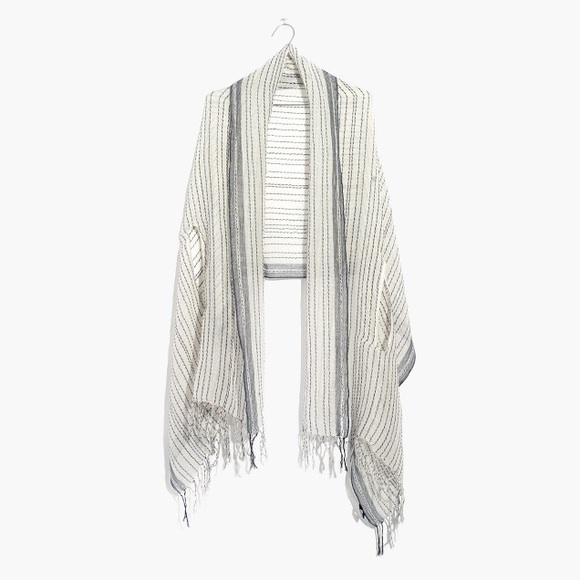 e65a1f7c681 Madewell Gauze Stripe Cape Scarf in White